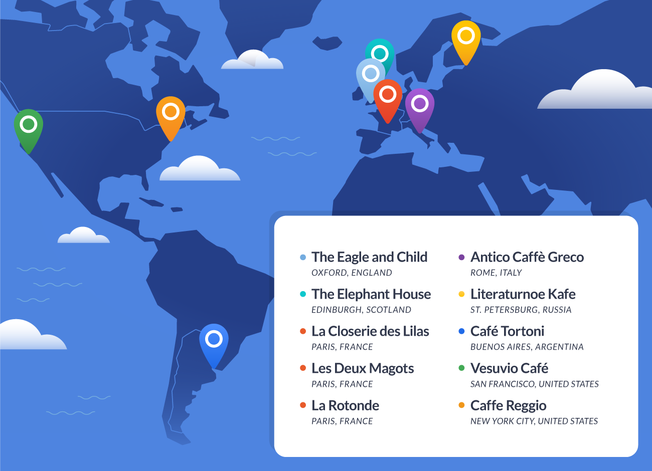 illustrated map of ten iconic literary cafes