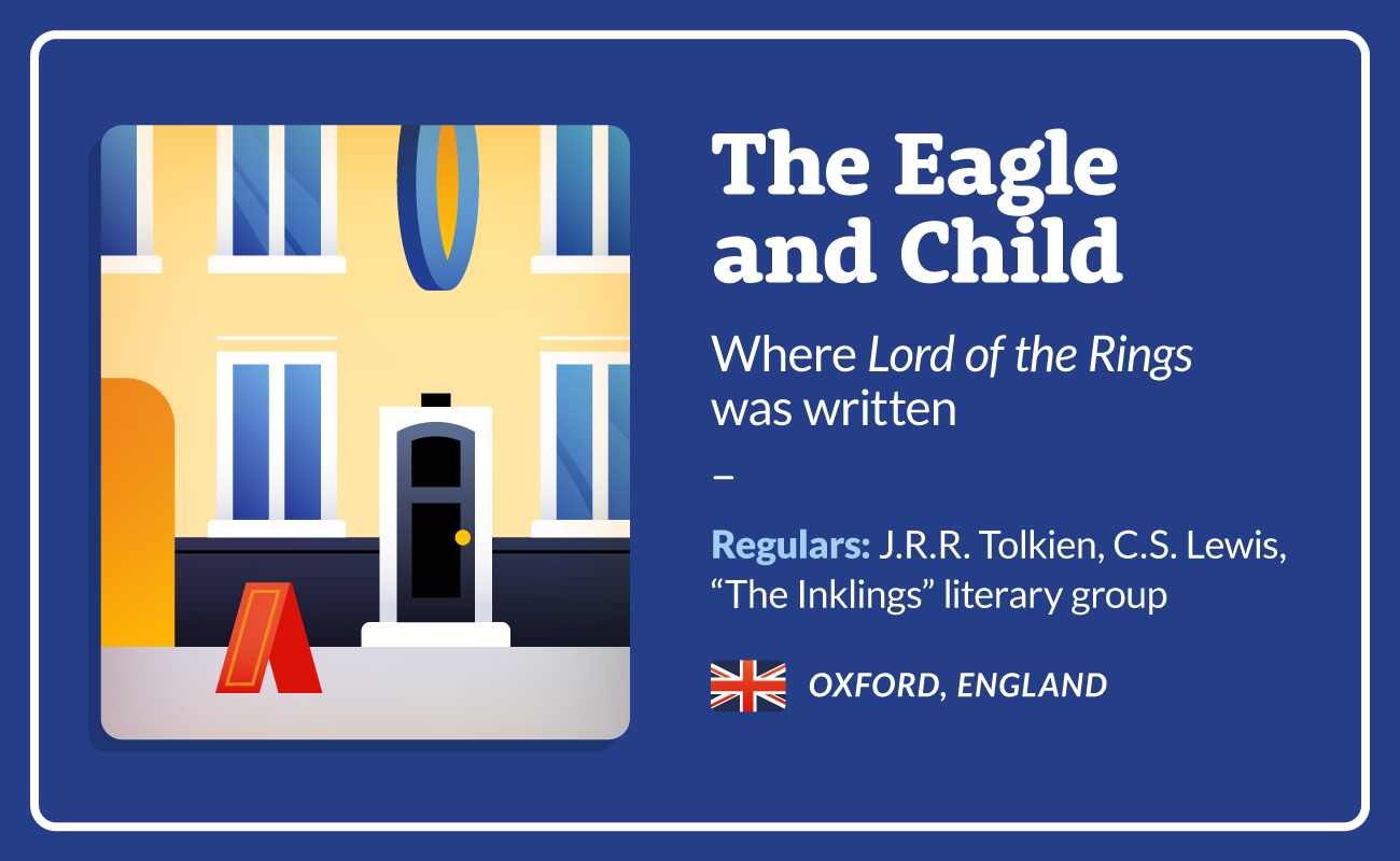 The Eagle and Child literary cafe illustration