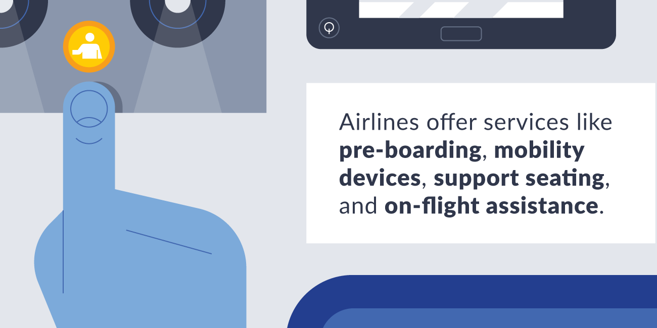 Airline offer disability services illustration.