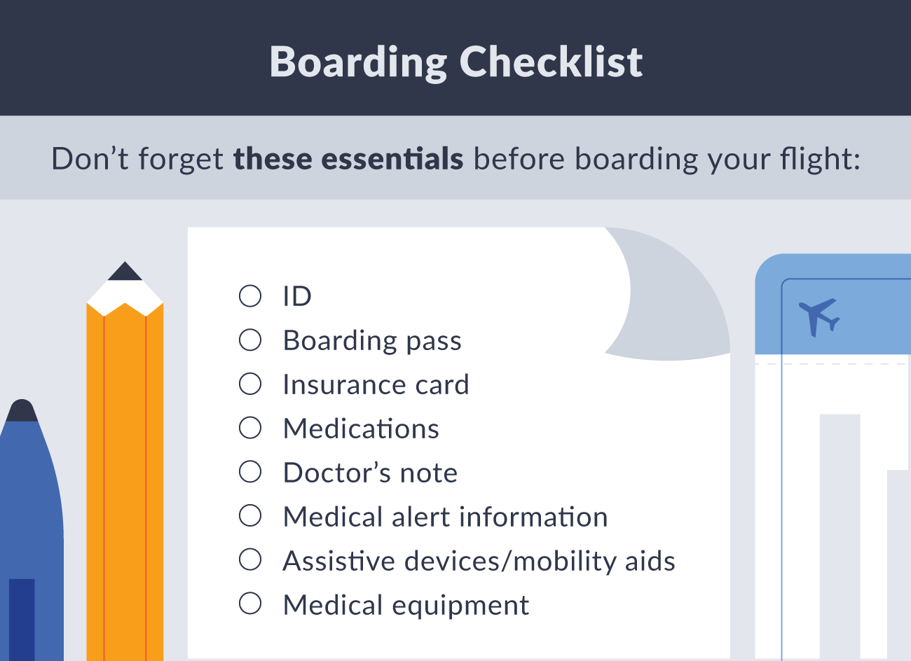 Boarding checklist essentials illustration.